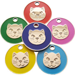 Cat pet tag with enamelled cat face