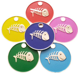 Cat pet tag with enamelled with fish bone shapes