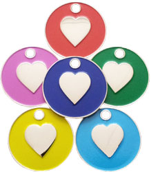 Cat pet tag with enamelled heart shapes